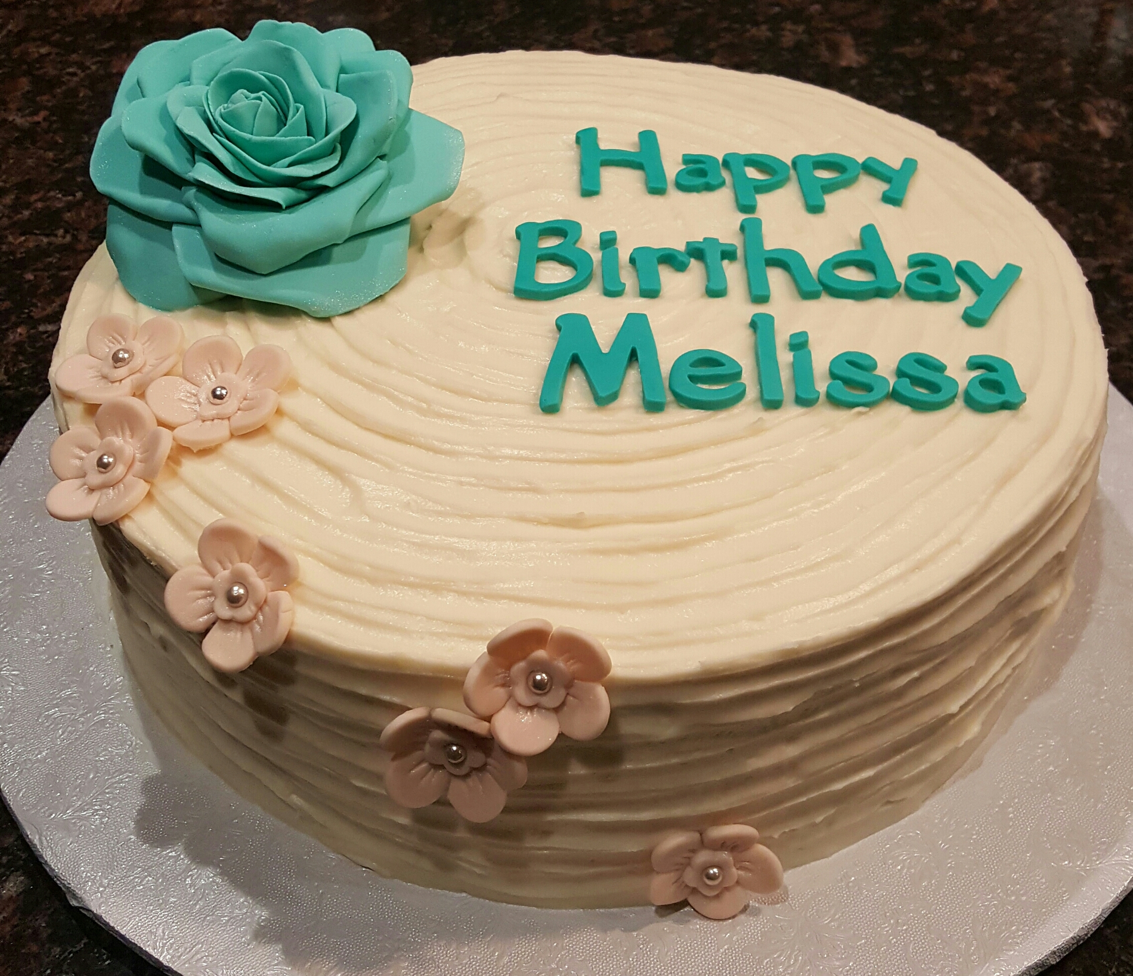 Teal rose flower birthday cake cakecentral teal rose flower birthday cake on cake central izmirmasajfo