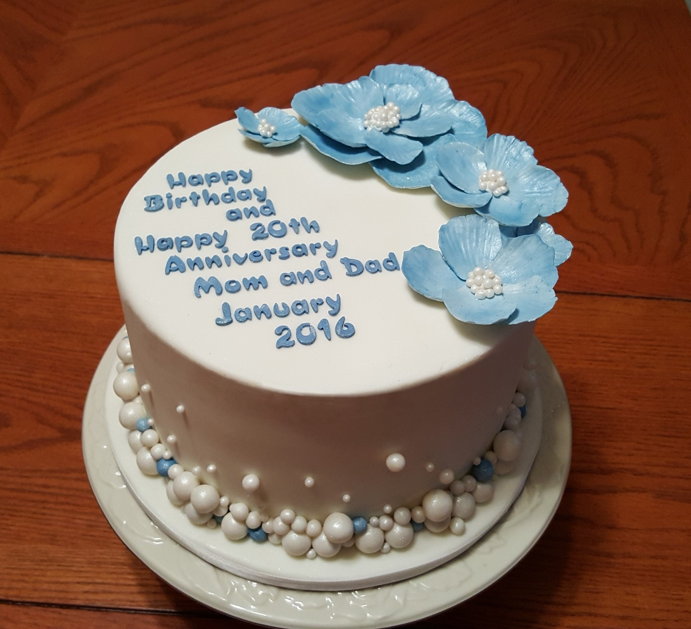 20th Anniversary Blue And White Pearls Cake Cakecentral Com