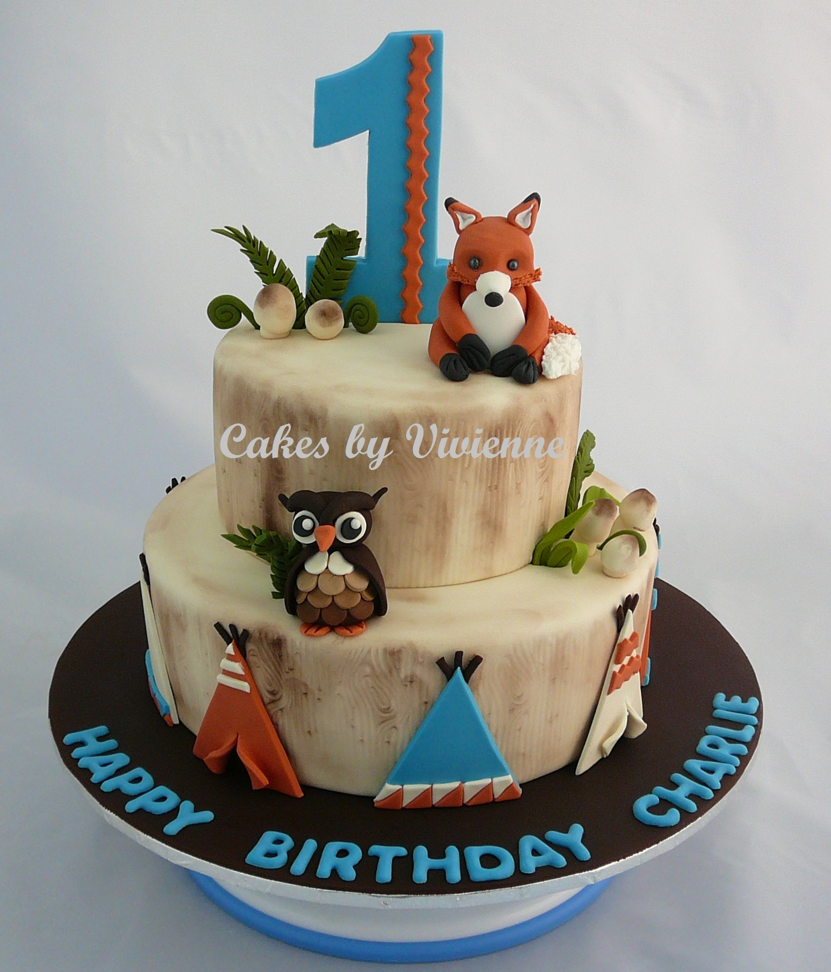 Fox First Birthday Cake