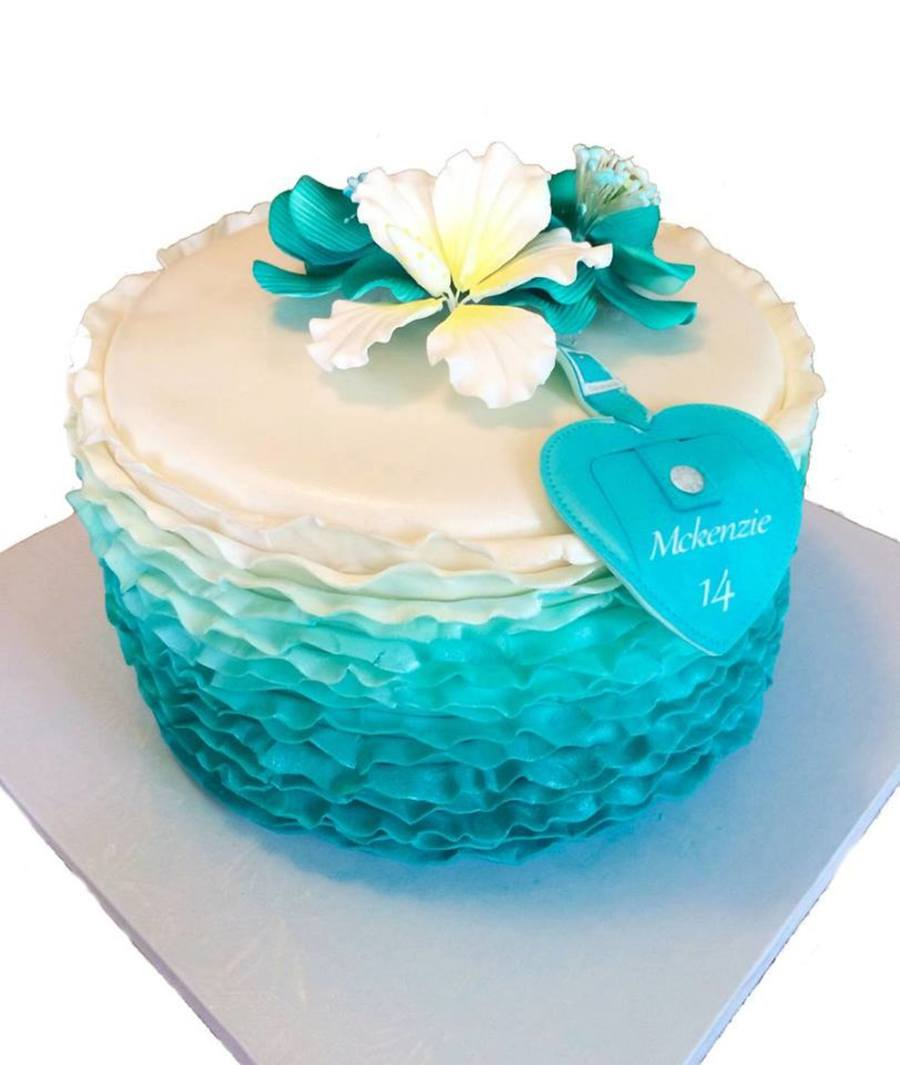 Magnificent Teal Ombre 14Th Birthday Cake Cakecentral Com Funny Birthday Cards Online Alyptdamsfinfo