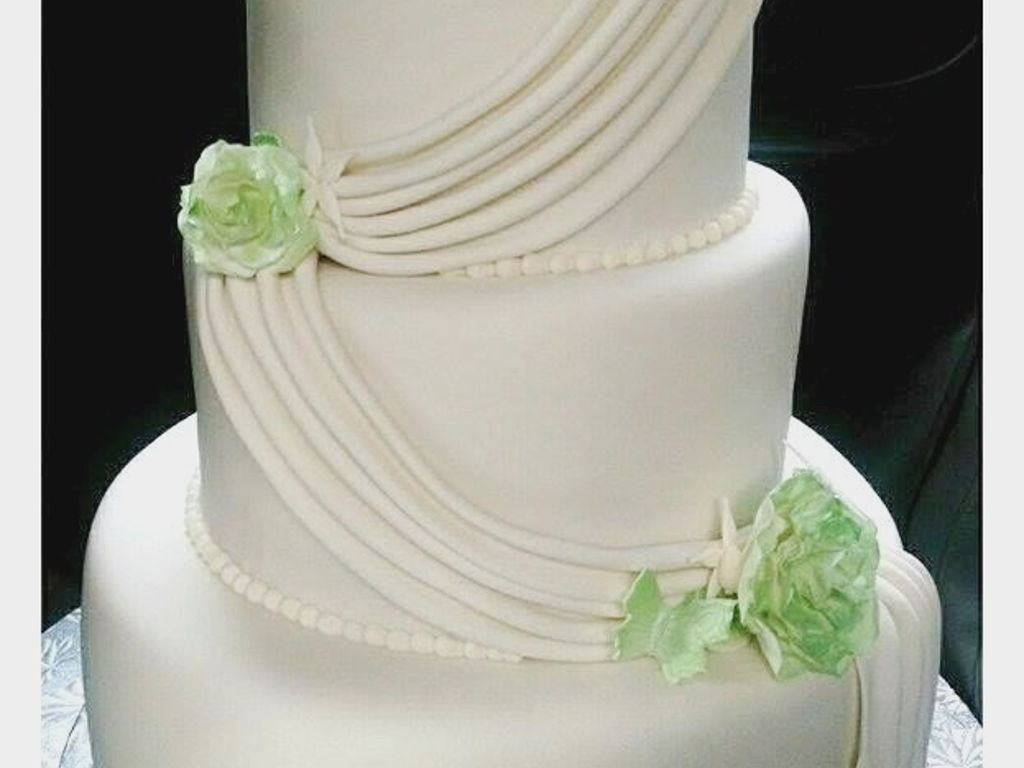 Simple, Elegant 3 Tier White And Green Wedding Cake - CakeCentral.com