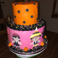 2 Tier Halloween Birthday Cake 2 tier halloween birthday cake with buttercream frosting and fondant characters cutouts