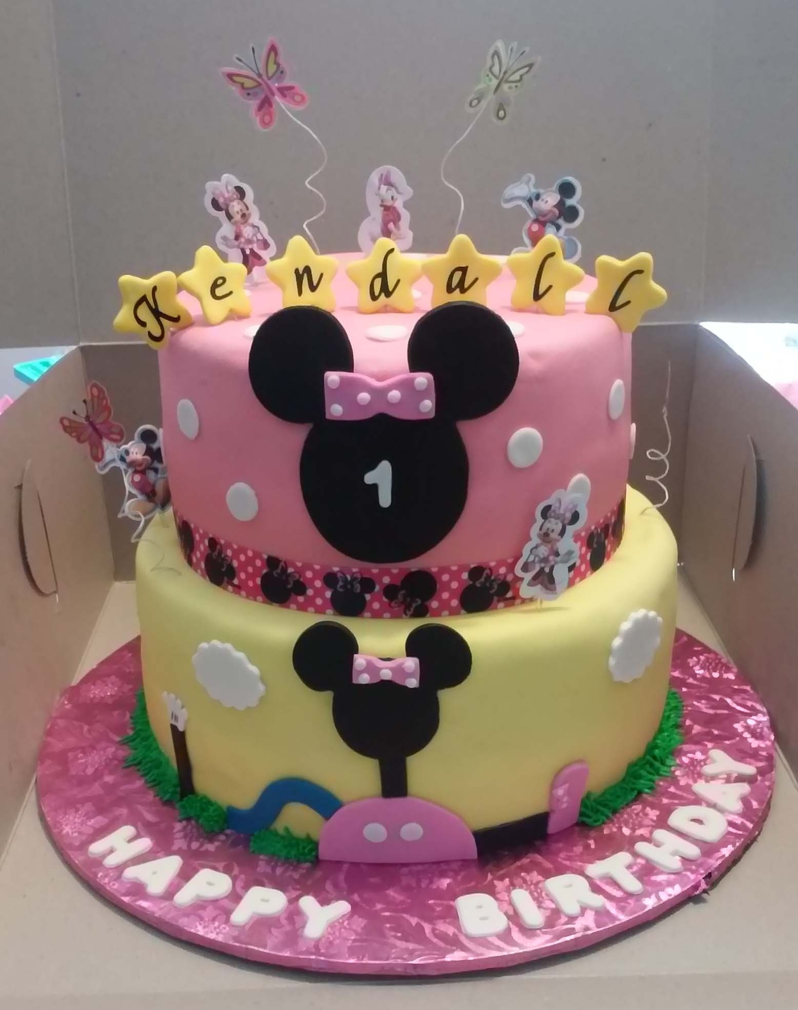 2 Tier Minnie Mouse Clubhouse Themed Birthday Cake 2 Tier Minnie Mouse Clubhouse themed Birthday Cake8' Top Tier: Chocolate Cake10' Bottom Tier: Yellow Cake in buttercream and...