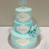 3 Tier Round Baptism Cake   3 tier round Baptism cake with buttercream frosting