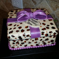 Animal Print Gift Box Marbled Gluten Free cake, dairy free buttercream and mmf.