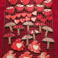 Assorted Valentines Day Cookies - Umbrellas, Fish, Quilted Hearts, And Coffee Cups These cookies were decorated using Marshmallow Fondant and Royal Icing.
