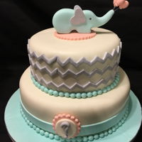 Baby Shower Cake chevron pattern and edible elephant topper