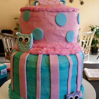 Baby Shower Cake - Owl Theme Top cake is chocolate fudge with buttercream filling and frosting. Bottom cake is layers of white cake, layers of pink (strawberry flavor)...