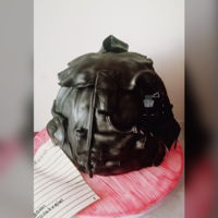Back To School Backpack I airbrushed the cake for a leather look. The cake feeds about 30 people.