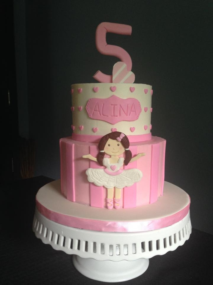 Ballerina & Stripes Buttercream covered cake with 2D fondant decorations, including hand cut fondant ballerina.