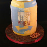 Beer Can Double barrel cake with fondant and edible image.