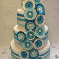 Blue Flowers Wedding Cake four tiers, mud cake