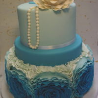 Blue Ruffles Wedding Cakes two tiers..need a long long time to decorate it...