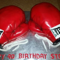 Boxing Gloves Carved out of 1/2 sheet cake