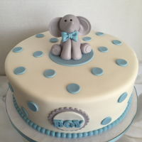 Boy Baby Shower Boy baby shower cake with fondant elephant topper