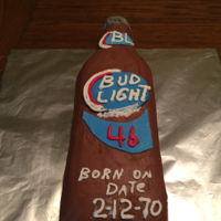 Son In Law's Bud Light Birthday Cake  Devils food cake, cookie dough filling and chocolate icing. First time using the Wilton Bottle Pan. Worked pretty good, just had issues...