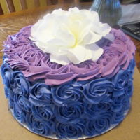 Buttercream Rosette Cake Purple and mauve buttercream rosette cake