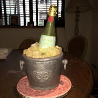 Champagne Bottle In A Bucket   I made this cake for my husband birthday. Bucket is chocolate cake and bottle and ice cubes is sugar.