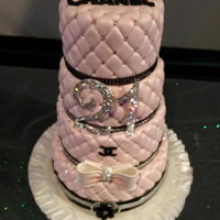 Chanel Cake A chanel 21st birthday cake. Pink with silver dragees, all quilted
