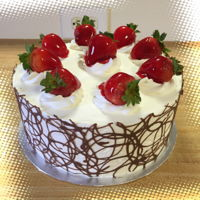 Chocolate Lace 3Leches cake decorated with whipping cream, fresh strawberries and with a chocolate lace.