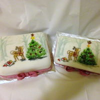 Christmas 2015 - Cakes Made As Gifts For Family And Friends Out of the 10 Christmas cakes I made this year, I hand painted these two - I would have loved to have hand painted them all - but time did...