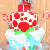Christmas Topsy Turvy This cake was for my wife's company Christmas party