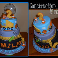 Construction Cake 3 tiered child's construction cake. Covered in fondant, middle tier is a dummy.
