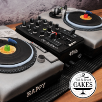 Dj Deck Cake 40th Birthday cake - CUstomised DJ Decks and mixers to match his set up