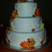 Fall Autumn Wedding Cake Gumpaste fall airbrushed leaves and gumpaste owls