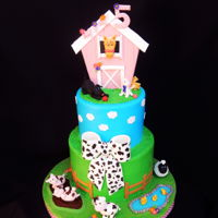 "Girl Farm Cake 6/8"" vanilla cake with strawberry filling covered in buttercream. Fondant animals and details"