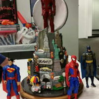 Gotham Super Heroes This was the cake I made for my grandson's 5th birthday. New York City, a.k.a. Gotham, with four of his favorite super hero figures (...