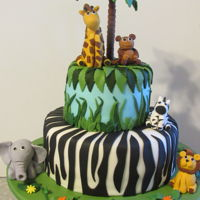 Jungle Cake Jungle cake with fondant animals
