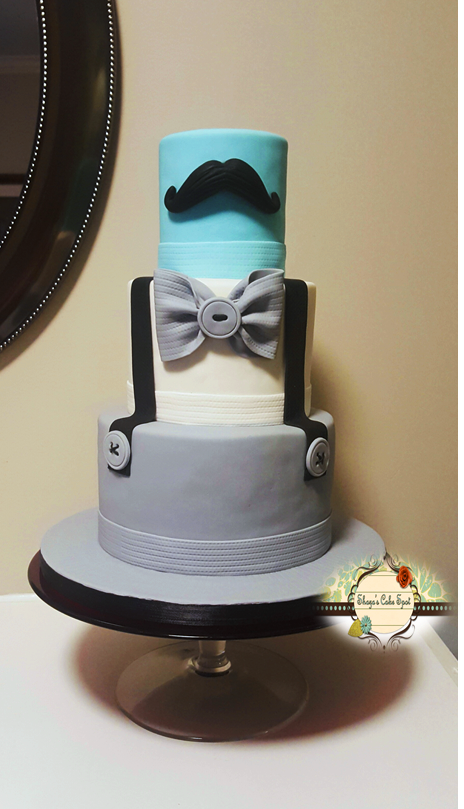 "Little Man Is On The Way - Baby Shower Cake Made this cake for my besty's babyshower. The theme was ""A Little Gentleman is on the way"" hence the bowtie, mustache and..."