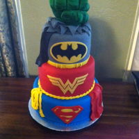 "Marvel/dc Cake Hulk's fist is made of rice treat and covered in fondant that was ""painted"" using luster dusts"
