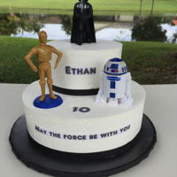May The Force Be With You   8 inch , 5 inch WASC with buttercream. Cheesecake pudding filling