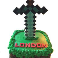Minecraft Birthday Cake For my great nephew who loves Minecraft. Sword was made of foamboard.