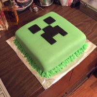 Minecraft Creeper Dark chocolate fudge cake filled with my signature almond/vanilla buttercream and covered in fondant.