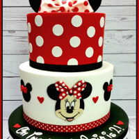 Minnie Two-Dles Cake   Buttercream and fondant cake with edible decorations.