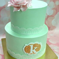Mint And Gold   Mint green buttercream cake with Mexican paste plaque and fondant closed peony.