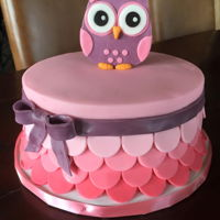 Owl Baby Shower Cake Pink & Purple Owl cake for baby shower