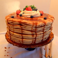 Pancake Cake  This is a 10 inch round cake with buttercream icing underneath and candy clay pancakes, strawberries and blueberries! No fondant! Corn...