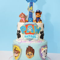 Paw Patrol Birthday Fondant characters around the bottom tier.