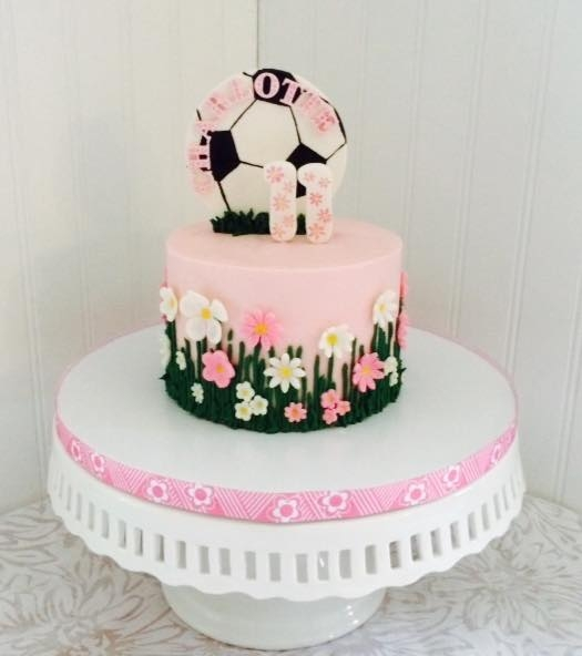 Pink, Flowers, & Soccer Buttercream with fondant and gumpaste accents