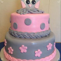 Pink & Gray Owl Baby Shower WASC cake, buttercream, MMF, decorations made from modeling chocolate