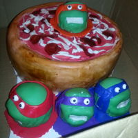 Pizza Anyone Deep dish pepperoni pizza with teenage mutant ninja turtles
