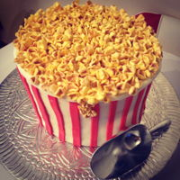 Popcorn I made this cake for my husband's birthday, he's a die hard popcorn fan.. chocolate with nutella buttercream, all in fondant....
