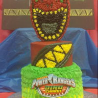 Power Ranger Dino Charge My son asked for a 2 tier dino charge cake. I was initially going to do a torso cake but decided to do a rice treat top instead. He told me...