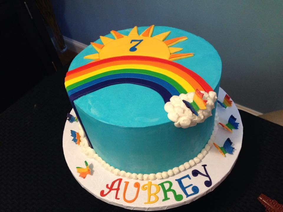 Rainbows & Butterflies Buttercream with fondant accents