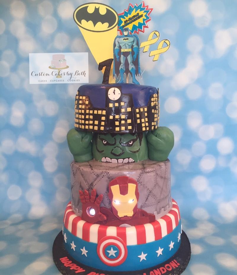 Re-Mission Accomplished Super Hero Cake A cake I made at the request of Icing Smiles for a young man who loves Batman and Avengers. Fondant, gumpaste, modeling chocolate (Hulk&#...