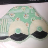Ruby Is Twelve Ice cream filled cake. Wilton jalopy shaped cake pan. Car is made with candy clay. Bottom layer is buttercream.